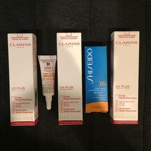 Sunscreen bundle - clairins , shiseido, kiehl's